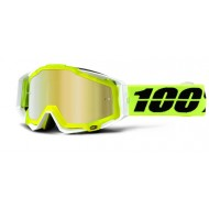 MOTOCROSS GOGGLE 100% RACECRAFT SOLAR YELLOW/WHITE MIRROR GOLD