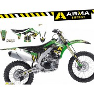 OFFER STICKER GRAPHICS KIT WITH SEAT COVER ARMA ENERGY KAWASAKI KX125/250 03-08