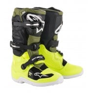 ALPINESTARS YOUTH TECH 7S BOOTS 2021 YELLOW FLUO / MILITARY GREEN / BLACK COLOUR
