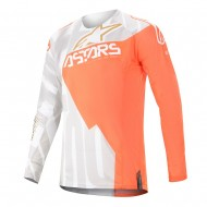 OFFER ALPINESTARS TECHSTAR FACTORY METAL JERSEY 2020 WHITE / ORANGE FLUO / GOLD COLOUR