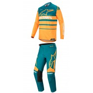 OFFER COMBO ALPINESTARS RACER SUPERMATIC 2020 PETROL / ORANGE COLOUR