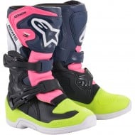 ALPINESTARS YOUTH TECH 3S KIDS BOOTS 2021 BLACK / DARK BLUE / PINK FLUO COLOUR