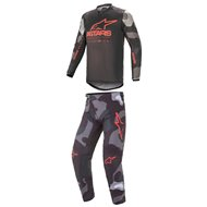 COMBO YOUTH ALPINESTARS RACER TACTICAL 2021 CAMO GREY / FLUO RED COLOUR