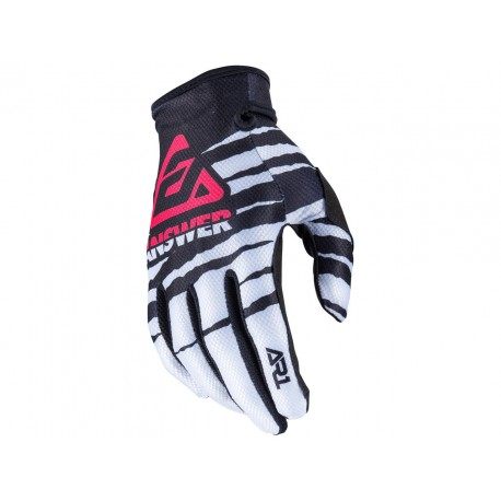 GUANTES ANSWER PRO GLOW VOYD 2021 COLOR BLANCO/NEGRO/ROSA