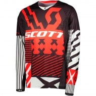 OFFER SCOTT JERSEY 450 PATCHWORK COLOUR RED/BLACK - SIZE XXL