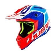 CASCO JUST1 J38 BLADE 2019 COLOR AZUL / ROJO / BLANCO BRILLO